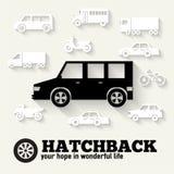 Flat hatchback car concept set icon backgrounds. Illustration design. Tamplate for web and mobile Stock Photos