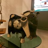 Flat head. A cow sculpture made by Picasso Royalty Free Stock Photo