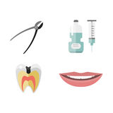 Flat health care dentist medical tools medicine instrument hygiene stomatology vector illustration. Royalty Free Stock Photos