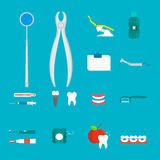 Flat health care dentist medical tools medicine instrument hygiene stomatology vector illustration. Stock Photos