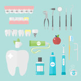 Flat health care dentist symbols research medical tools healthcare system concept and medicine instrument hygiene Royalty Free Stock Image