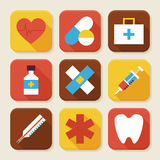 Flat Health and Medicine Squared App Icons Set Royalty Free Stock Photography