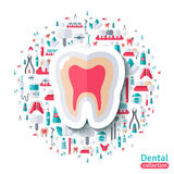 Flat Healthy Clean Tooth Sticker Icon Stock Images