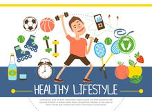 Flat Healthy Lifestyle Concept. With athlete soccer basketball tennis balls rackets fruits water scales dumbbels clock rollers music player vector illustration stock illustration
