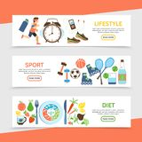 Flat Healthy Lifestyle Horizontal Banners vector illustration