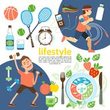 Flat Healthy Lifestyle Poster royalty free illustration