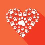 Flat heart with pet paws silhouette . Vector Royalty Free Stock Photos