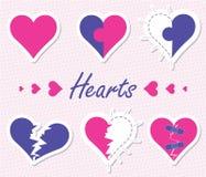 Flat Heart Set Stock Images