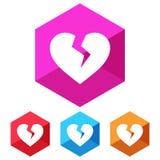 Flat, hexagon broken heart white silhouette icon. Four color variations vector illustration
