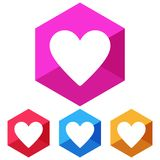 Flat, hexagon heart white silhouette icon. Four color variations. Isolated on white. Flat, hexagon heart white silhouette icon. Four color variations. Isolated Royalty Free Stock Photos