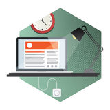Flat Hexagonal Workspace Stock Photography