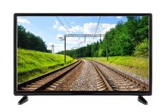 Flat high definition TV with railway on the screen. Isolated on white Royalty Free Stock Image