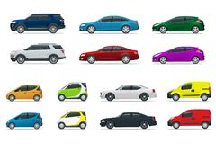 Flat high quality city transport car icon set. Sedan, van, cargo truck, off-road. Urban public and freight transport for. Flat high quality city transport car Stock Photo