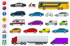 Flat high-quality city transport cars and road signs icon set. Side view sedan, van, cargo truck, off-road, bus, scooter. Motorbike. Urban public, freight Royalty Free Stock Image