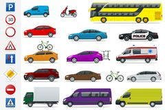 Flat high-quality city transport cars and road signs icon set. Side view sedan, van, cargo truck, off-road, bus, scooter. Motorbike. Urban public, freight Stock Photo
