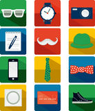 Flat Hipster Icon Set Stock Photography