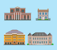 Flat Historical Buildings Royalty Free Stock Images
