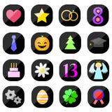 Flat holiday icons. On white background Royalty Free Stock Photo