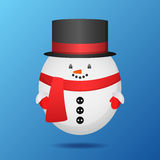Flat holiday illustration with a snowman wearing a scarf and hat Stock Photography