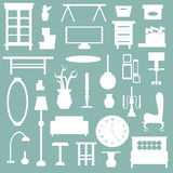 Flat home appliance furniture and interior decoration icon Stock Images