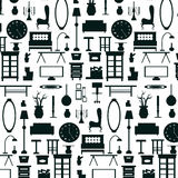Flat home appliance furniture and interior decoration icon pattern. Stock Photo