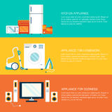 Flat home electronics appliances tehnology Stock Image