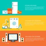 Flat home electronics appliances tehnology Stock Image
