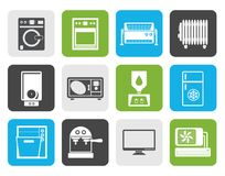 Flat Home electronics and equipment icons Royalty Free Stock Images