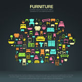 Flat home furniture icon design in a sofa shape Royalty Free Stock Photo