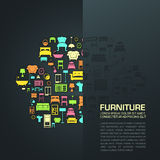 Flat home furniture icon design in a sofa shape with half transp Royalty Free Stock Photo
