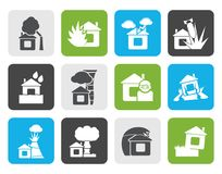 Flat home and house insurance and risk icons. Vector icon set Stock Photos