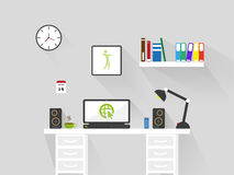 Flat home office workspace interior . long shadow vector background Royalty Free Stock Image