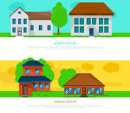 Flat homes. Flat residense houses banner concept. Place for text Stock Photo