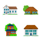 Flat homes. Set of four flat living houses, vector illstration Stock Photo