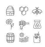 Flat honey icons. Vector black flat honey icons on white Royalty Free Stock Photography