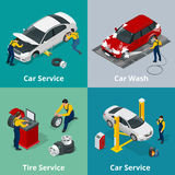 Flat horizontal banners with scenes workers in Car repair service center, Tire service, car wash and car repair. Mechanics. Vector isometric banners for web Stock Photography