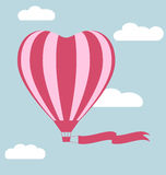 Flat hot air balloon in the shape of a heart with flag isolated Royalty Free Stock Images