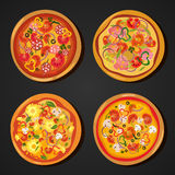 Flat hot pizza icons. Pizza isolated on white, pepperoni pizza. Vector Royalty Free Stock Image