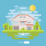 Flat house with garden and lake Stock Photography