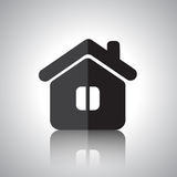 Flat house icon with reflection. Black house icon on abstract background with reflection stock illustration