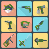 Flat house remodel power tools icons. Vector house repair electric devices flat style icons with shadow Royalty Free Stock Image