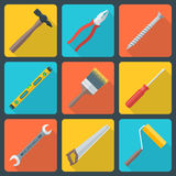 Flat house remodel tools icons. Vector various color flat design house repair instruments equipment icons with shadow Royalty Free Stock Photos