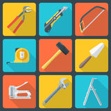 Flat house remodel tools icons. Vector various color flat design house repair instruments equipment icons with shadow Royalty Free Stock Images
