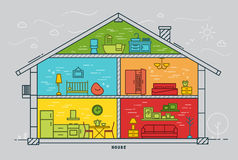 Flat house silhouette Stock Photography
