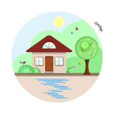 Flat house in spring season vector illustration