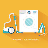 Flat household appliances background concept. Stock Photography