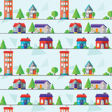 Flat houses seamless pattern, vector illustration Royalty Free Stock Photos