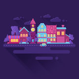 Flat houses trendy set of buildings icons. Nightlife view Stock Photography