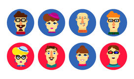 Flat human faces. Cartoon male and female avatar. People icon se Stock Images