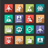 Flat human resources and management icons. Flat Business, Management and Success Vector Icons Set Stock Photo